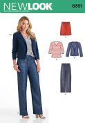 6351 New Look Pattern: Misses' Drawstring Trousers and Skirt, Knit Top and Jacket